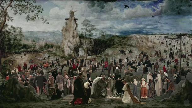 Risultati immagini per Immagini  la salita al Calvario -.. La croce di Cristo coperta da fiori
